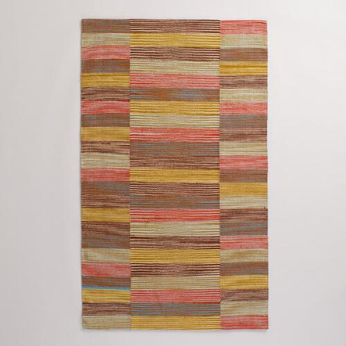 Multicolor Off-Placed Stripe Cotton Rug