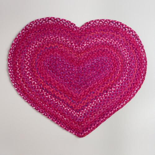 "30""x40"" Pink Heart-Shaped Braided Chindi Rug"