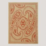 4.9'x6.9' Orange Paisley Antigua Indoor-Outdoor Rug