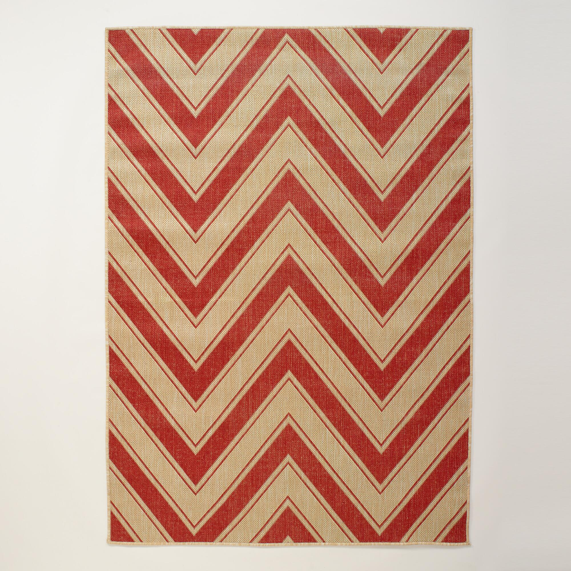 Chevron Kitchen Rug: 4.9'x6.9' Red Chevron Indoor-Outdoor Rug