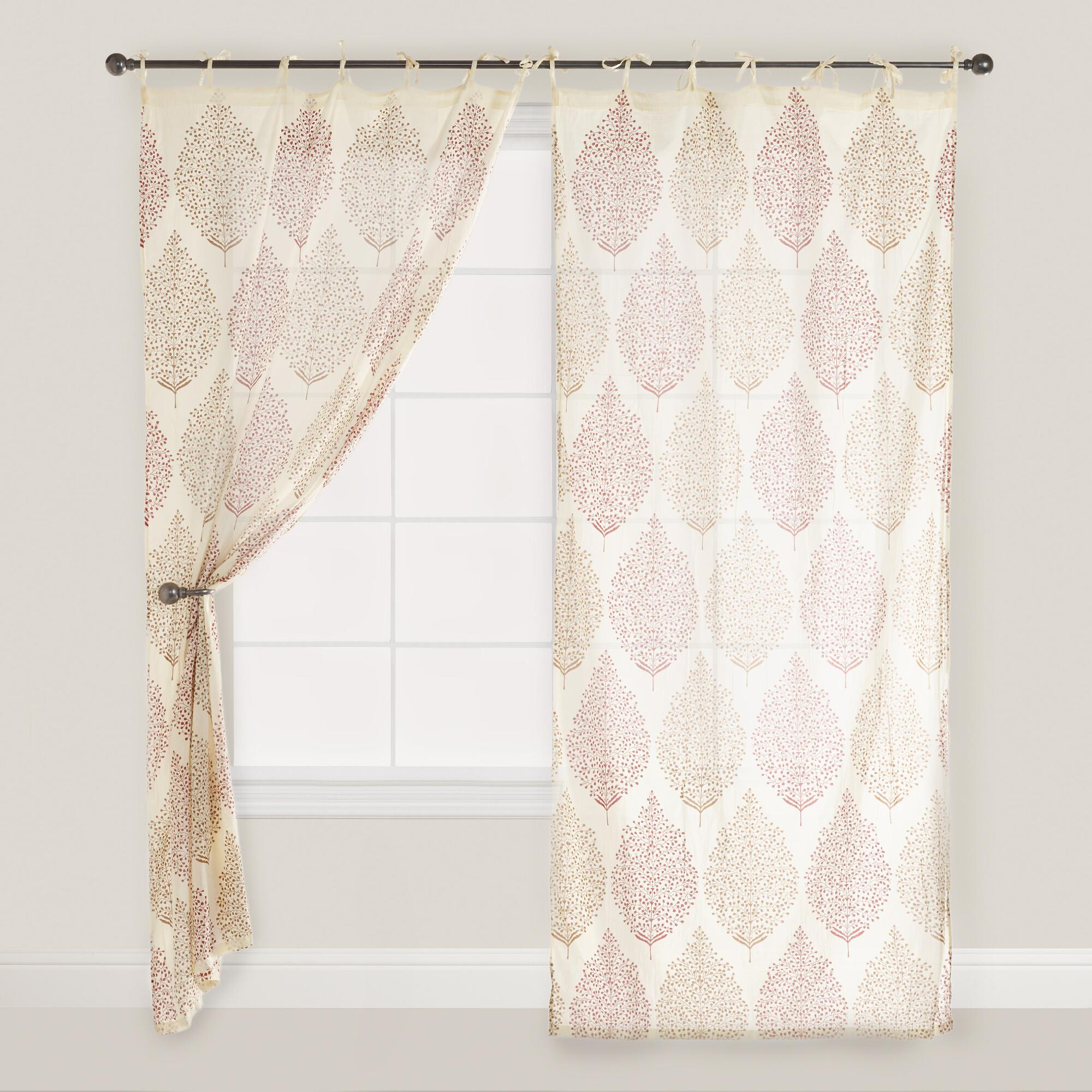 Rust kashvi patterned crinkle voile curtain world market for Patterned curtains and drapes