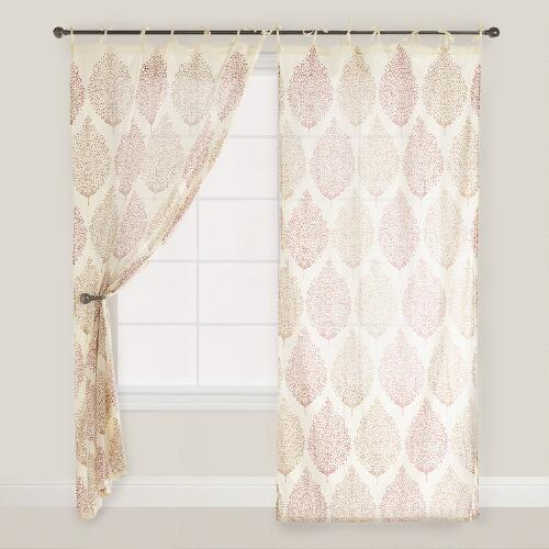 Rust Kashvi Patterned Crinkle Voile Curtain