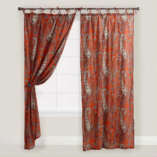 Orange Paisley Crinkle Voile Curtain
