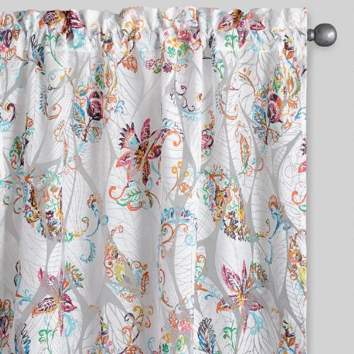 Floral Sheer Burnout Curtains, Set of 2