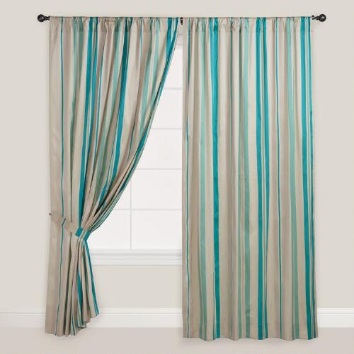 Blue Striped Lined Curtain