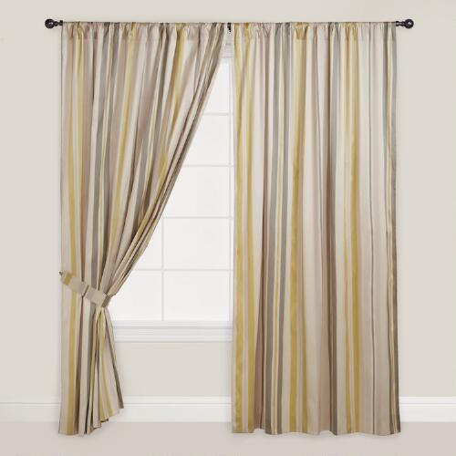 Green Striped Lined Curtain