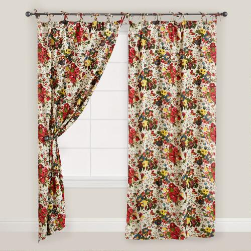 Rose Bouquet Crinkle Voile Curtain