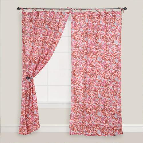 Cranberry Nora Crinkle Voile Curtain