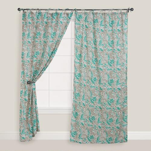 Green Nora Crinkle Voile Curtain
