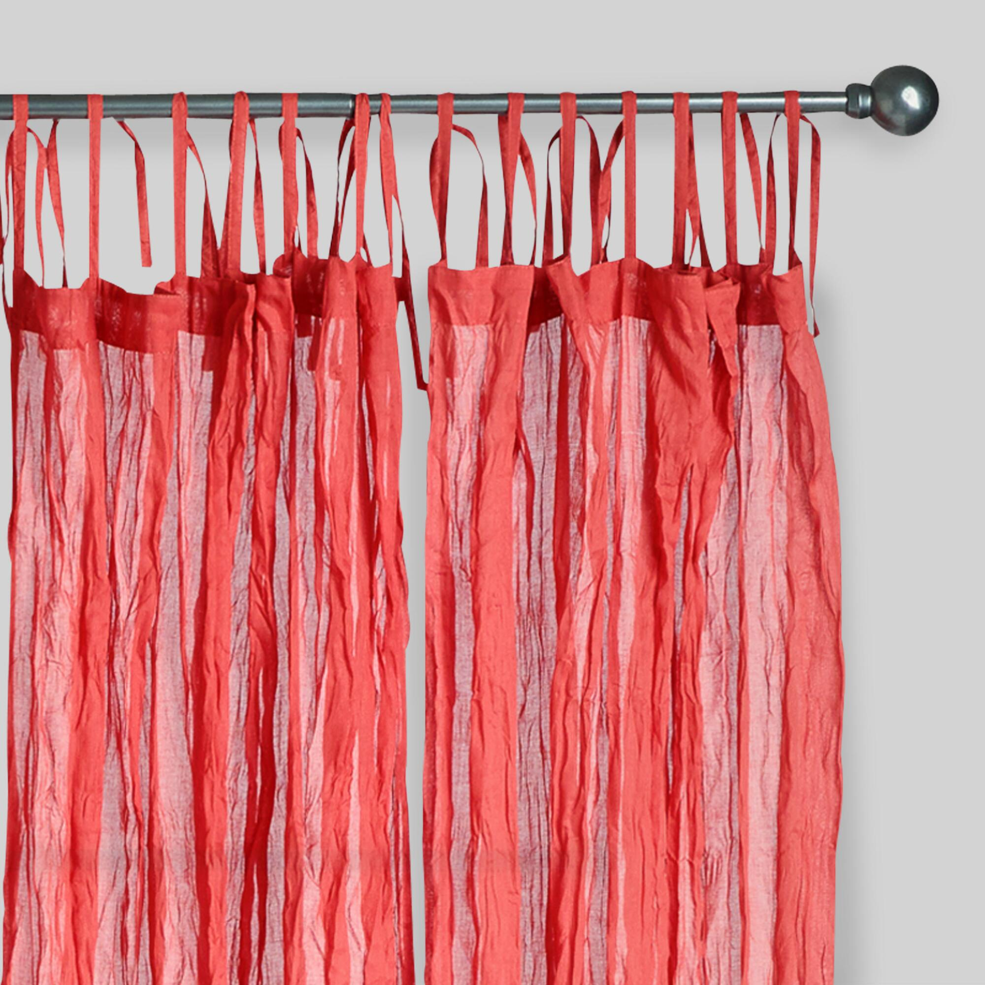Red crinkle voile cotton curtains set of 2 world market - Images of curtains ...