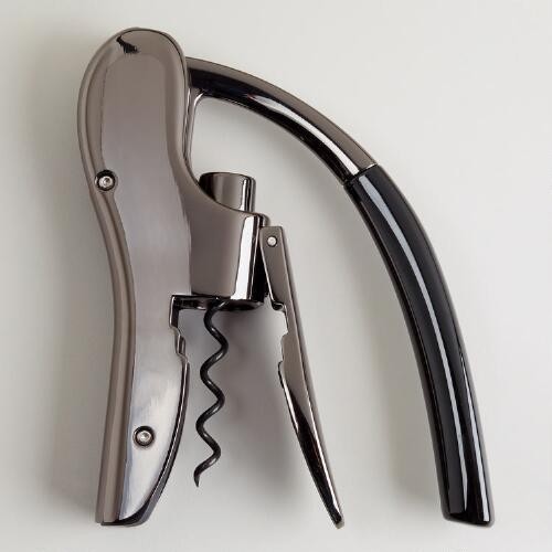 Black Chrome Lever Pull Corkscrew