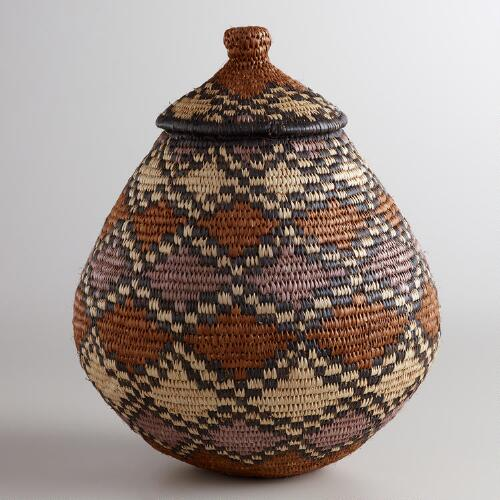 Large Zulu Basket with Lid