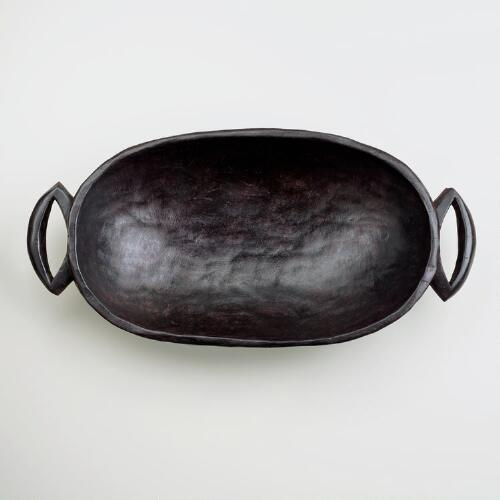 Large Oval Carved Bowl