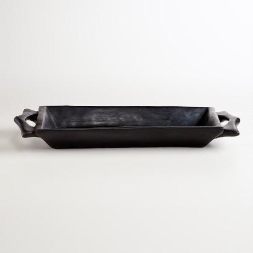 Large Rectangle Carved Bowl