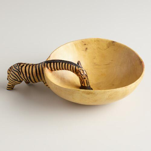 Wood Zebra Drinking Bowl Décor