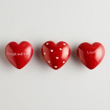 Red Soapstone Message of Love Heart, Set of 3