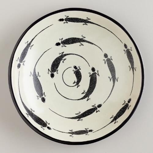 Black and White Kisii Soapstone Gecko Platter