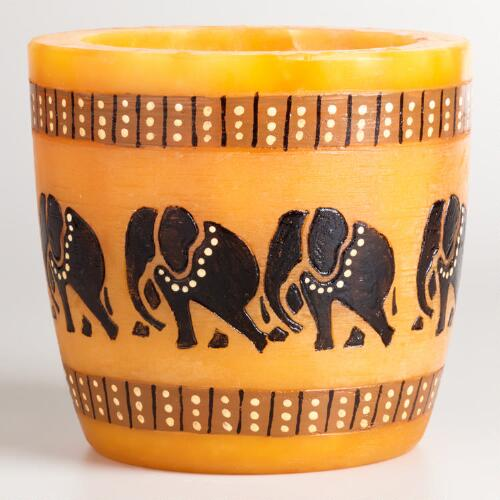 Orange Baby Elephant Candle