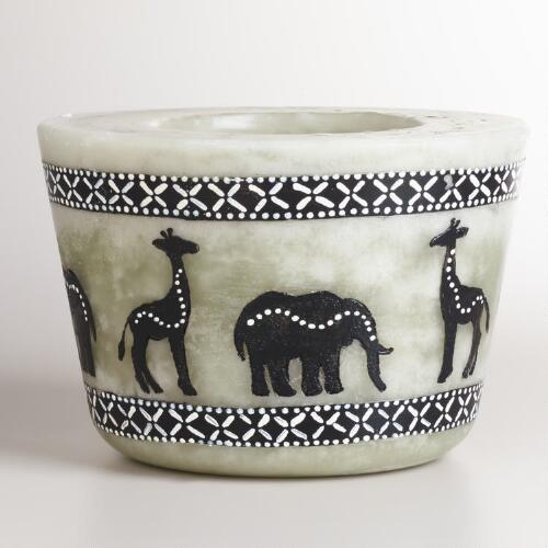 Large Ivory Oval Walking Animals Candle