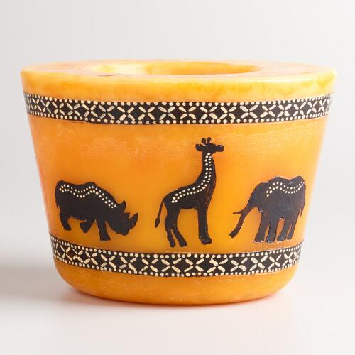 Large Orange Oval Walking Animals Candle
