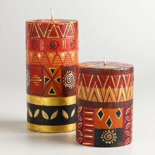 Gold Safari Pillar Candles