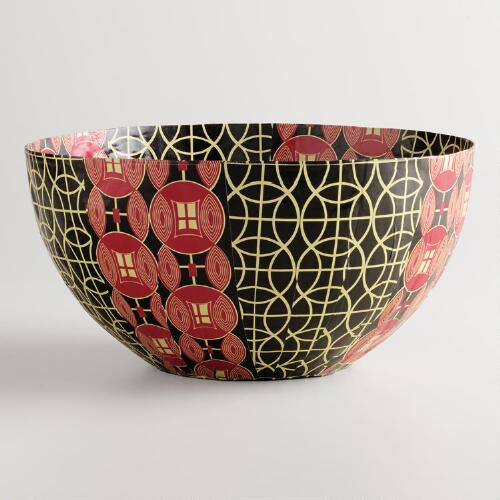Large Red and Black Shields Bowl