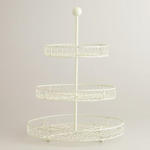 Antique White 3-Tier Wire Stand