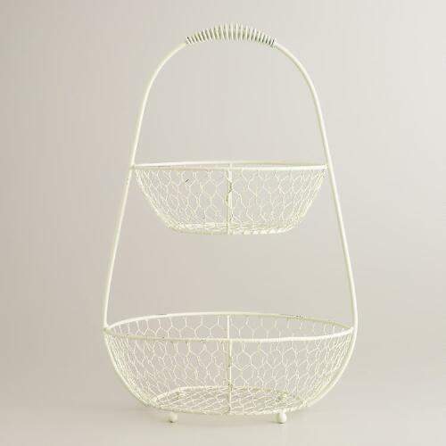 Antique White 2-Tier Wire Basket