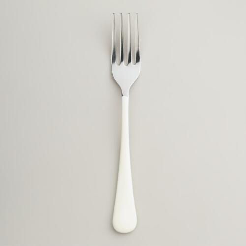 White Enamel Forks, Set of 4