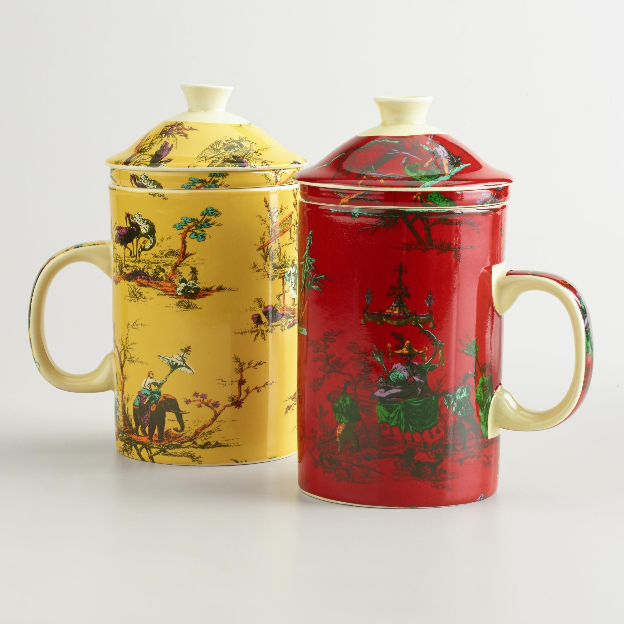 chinois toile infuser mugs set of 2 world market. Black Bedroom Furniture Sets. Home Design Ideas