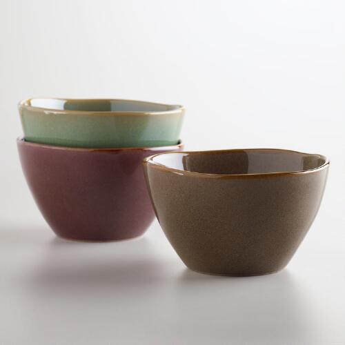 Organic Reactive Glazed Bowls, Set of 3