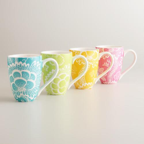 Spring Floral Mugs, Set of 4