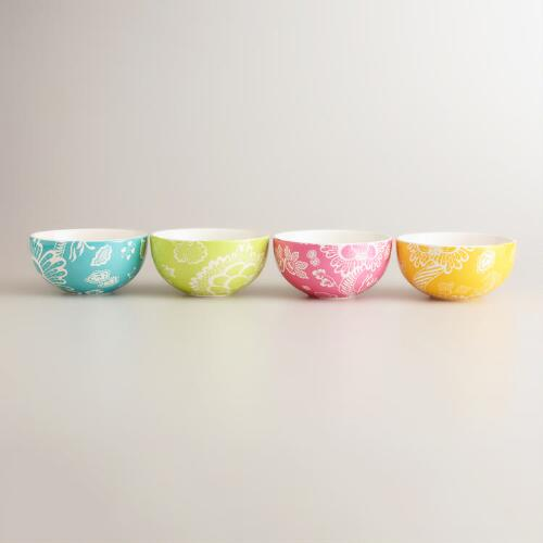 Spring Floral Bowls, Set of 4