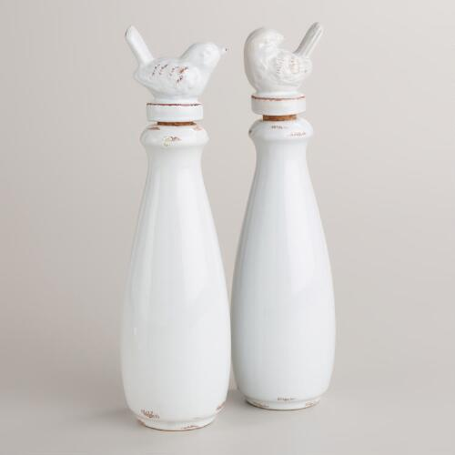 Ceramic Bird Oil Bottles, Set of 2