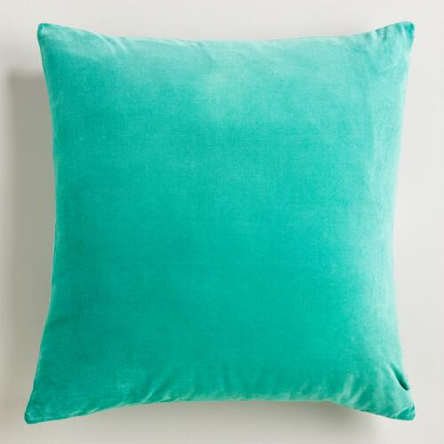 Beryl Green Cotton Velvet Throw Pillows