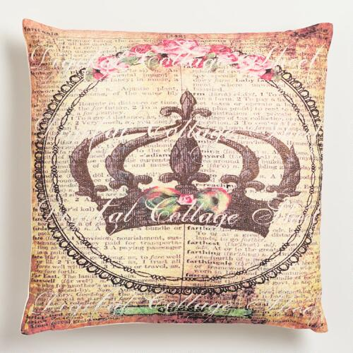 Crown with Script Throw Pillow