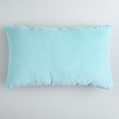 Canal Blue Cotton Velvet Lumbar Pillow