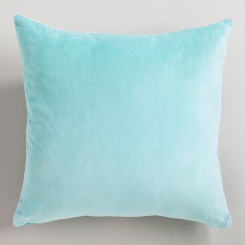 Canal Blue Cotton Velvet Throw Pillow