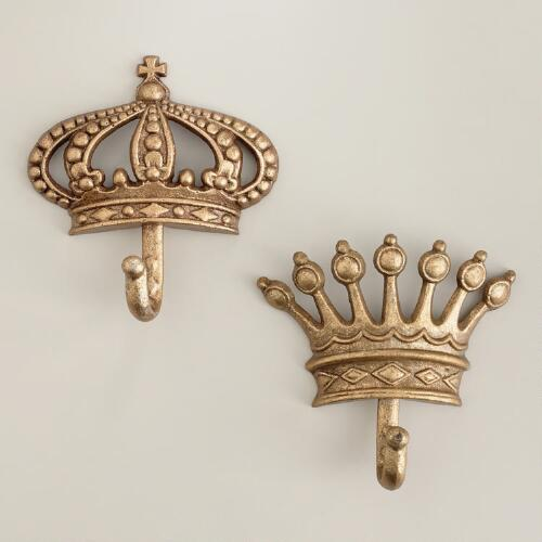 Antique Champagne Metal Crown Hooks, Set of 2