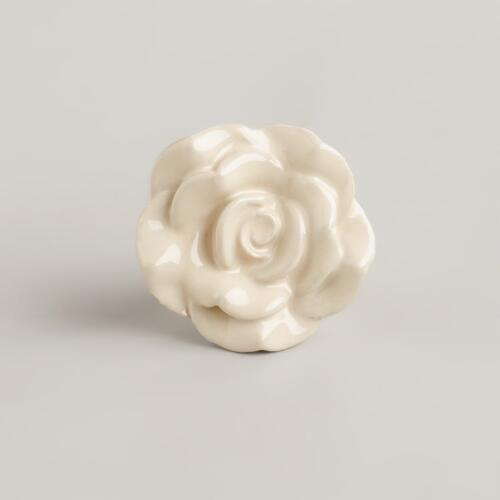 Ivory Petal Ceramic Knobs, Set of 2