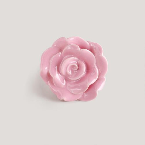 Pink Petal Ceramic Knobs, Set of 2
