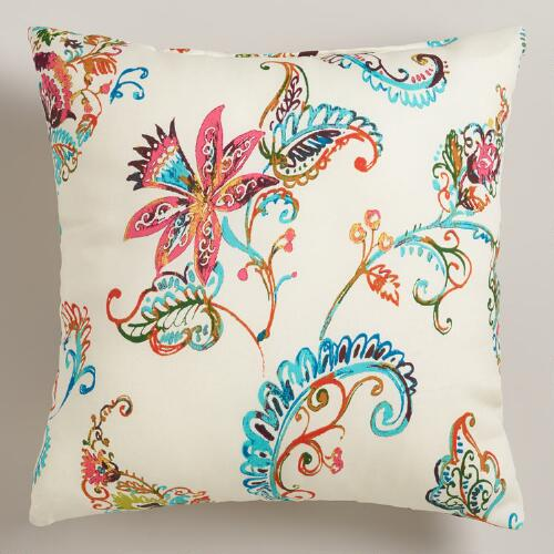 White Antigua Outdoor Throw Pillow