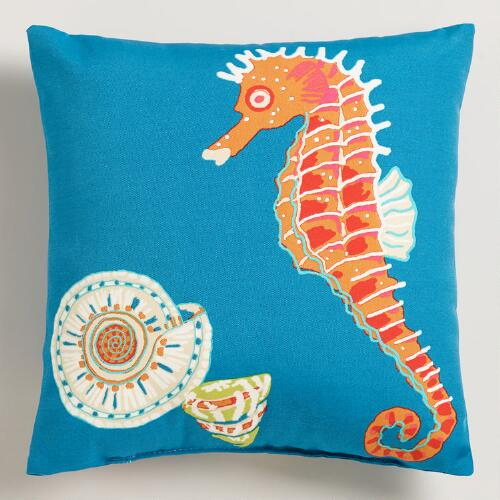 Seahorse Outdoor Throw Pillow