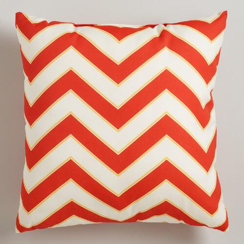 Warm Chevron Outdoor Throw Pillow