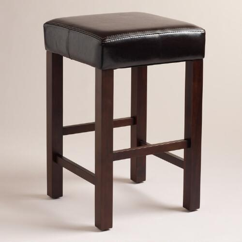 Espresso Bi-Cast Leather Harrison Counter Stools, Set of 2