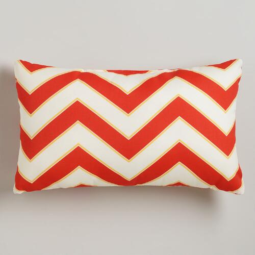 Warm Chevron Outdoor Lumbar Pillow