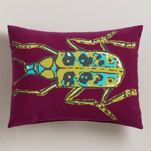 Purple Bug Outdoor Lumbar Pillow