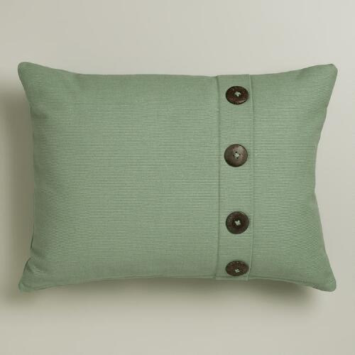 Wasabi Ribbed Lumbar Pillow with Buttons