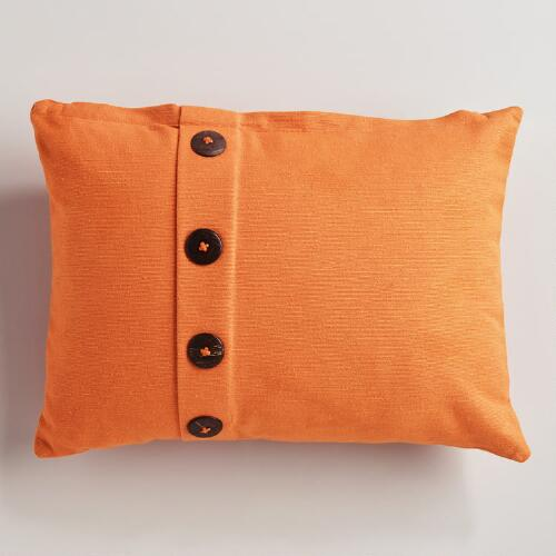 Melon Ribbed Lumbar Pillow with Buttons