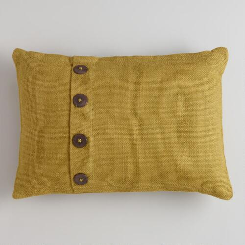 Olive Night Basket Weave Jute Lumbar Throw Pillow